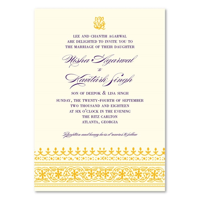 Indian Ethnic Wedding Invitations on seeded paper Dhanyabaad by
