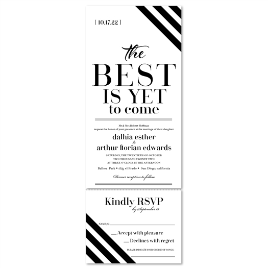 Sophisticated Black Stripes Wedding Invitations | Duke's Choice | Send and Sealed