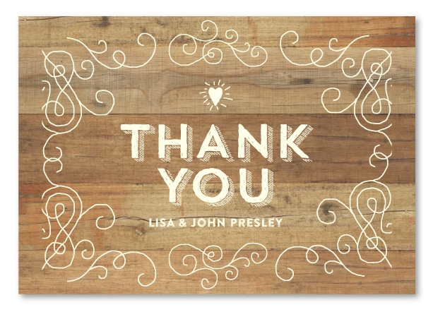 Rustic Thank you cards on Premium Linen Recycled Paper | Elegant