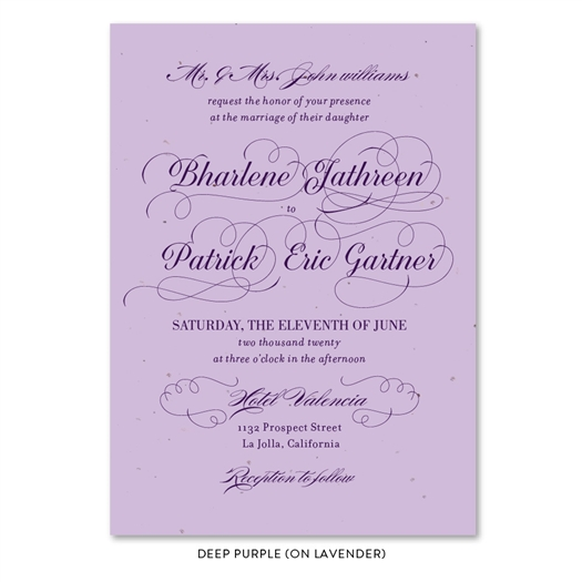 Elegant Reception Wedding Invitation on lavender seeded paper