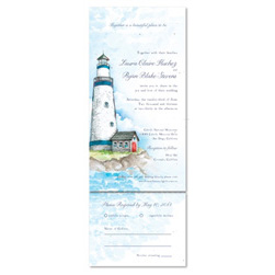 Beach Lighthouse Wedding Invitations with enchanting Light House