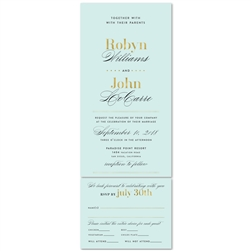 Tiffany blue Wedding Invitations with gold