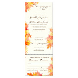 Fall Colors Wedding Invitations with orange, red and yellow leaves