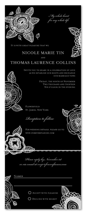 Black Wedding Invitations | Floral Delight