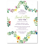 Bat Mitzvah Invitations with woven floral star of david on seeded paper
