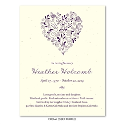 Memorial Cards Heart ~ Floral Bouquet