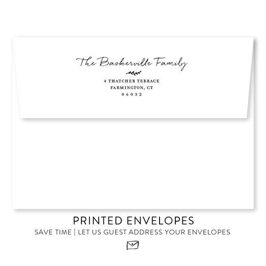 Professional Printing Services 4.25 x 5.50 Response Card with white envelope and return address printing