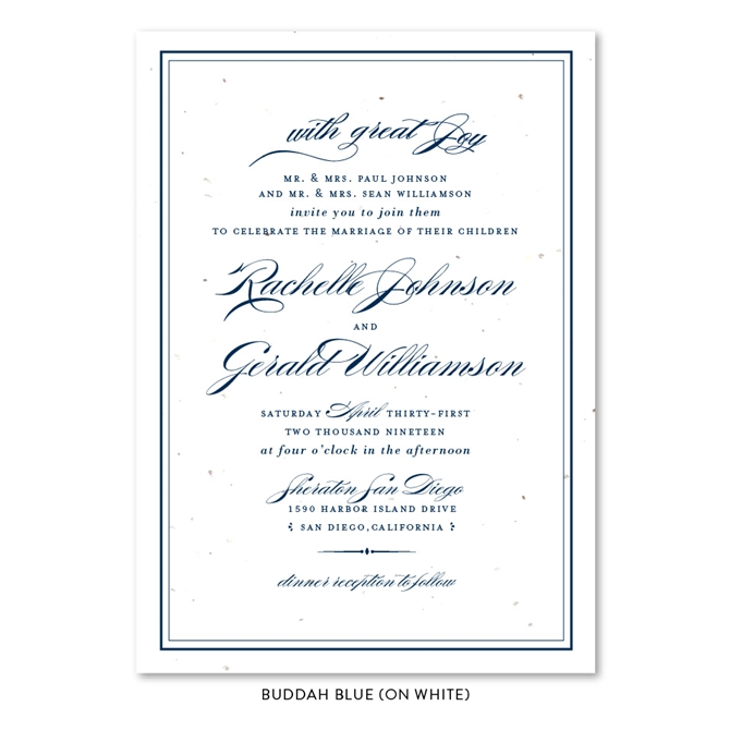 Sophisticated Wedding Invitations On White Seeded Paper Forever
