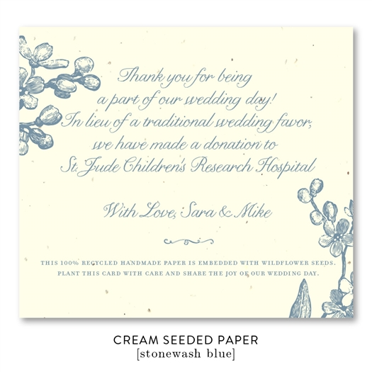 Plantable Wedding Favors ~ Forget Me Not (wildflowers seeded paper)