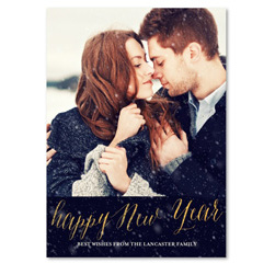 Custom Photo Holiday Card | Frozen & Gold (100% recycled paper)
