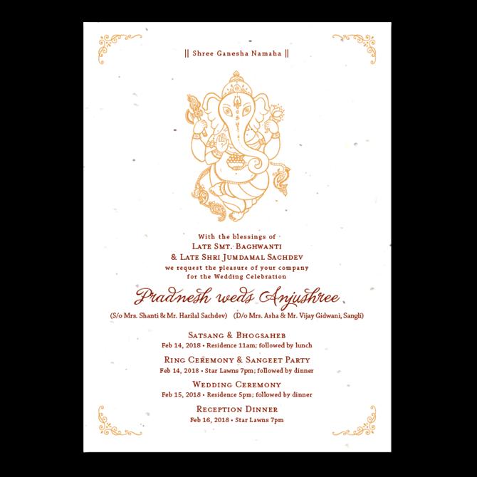 Ganesh Wedding Invitations: Indian Ganesha Wedding Invitations On Seeded Paper