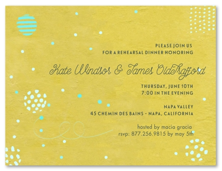 Recycled Rehearsal Dinner Invitations - Green Party