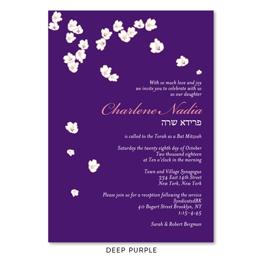 Green Bat Mitzvah Invitations with Gentle Blooms