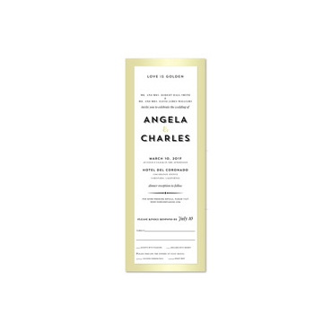 Golden Frame Wedding Invitations | Gilded Gold (100% recycled paper)