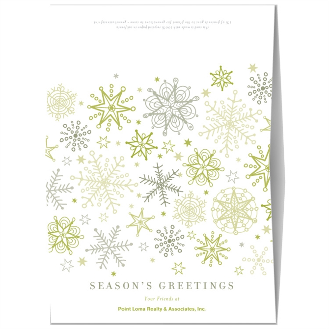 Holiday greeting cards green snow flakes by green business print m4hsunfo