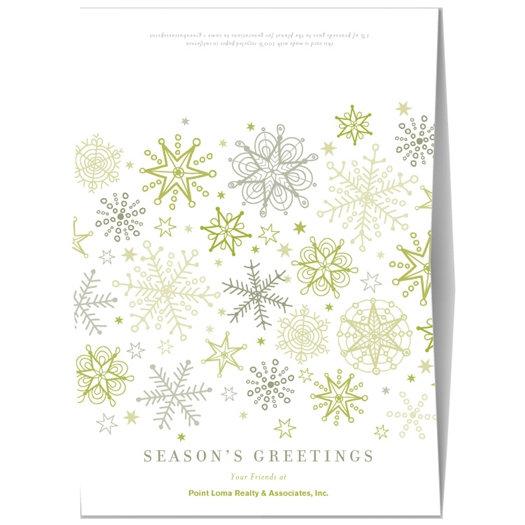 Holiday Greeting Cards | Green Snow Flakes
