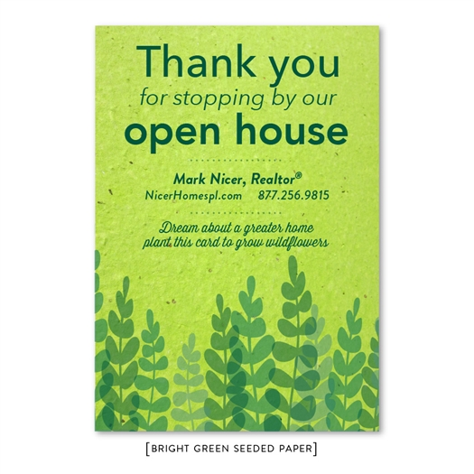 Green Open House Realtors Thank You Cards | Green Paper brown print