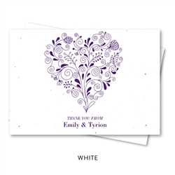 Unique Thank You Cards on seeded paper | Heart Shaped Bouquet (deep purple)