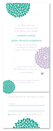 Garden Wedding Invitations ~ Hearts in Bloom (seeded paper with wildflowers)