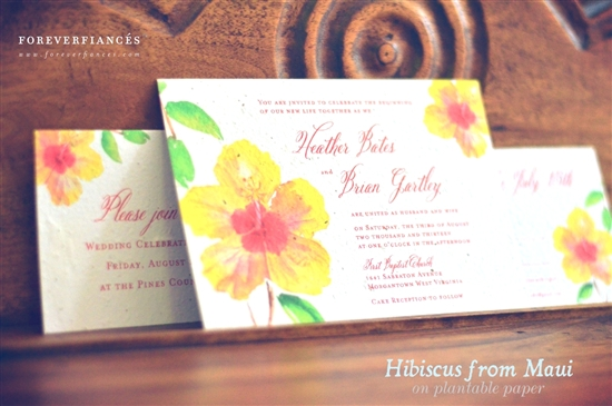 Hawaii Hibiscus Wedding Invitations from Maui by ForeverFiances