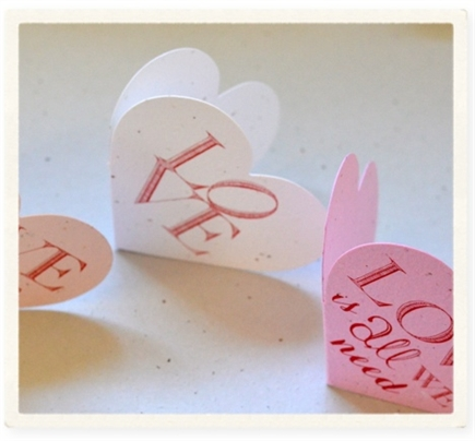 Heart shaped card ~ Love (seeded paper)