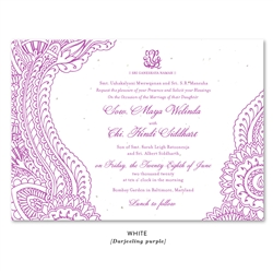 Indian Paisley Wedding Invitations on purple seeded paper