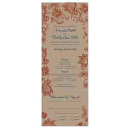 Indian Smile Wedding Invitations on Brown Seeded Paper (Brown, Paprika and Buddha blue)