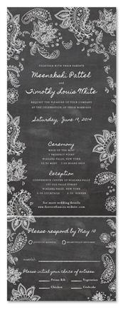 Indian Smile Chalkboard Wedding Invitations with Paisley