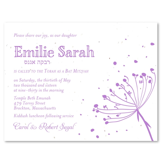 Dandelion Bat Mitzvah Invitations | Pink