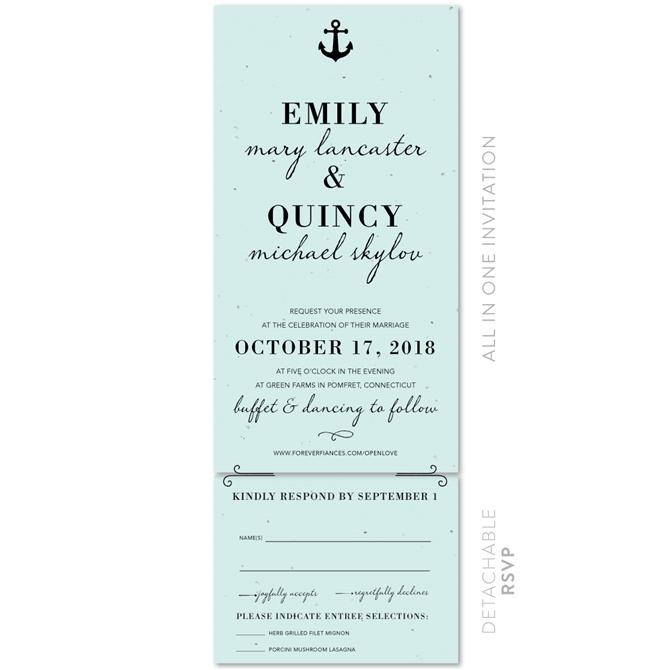 Marine Blue Nautical Wedding Invitations