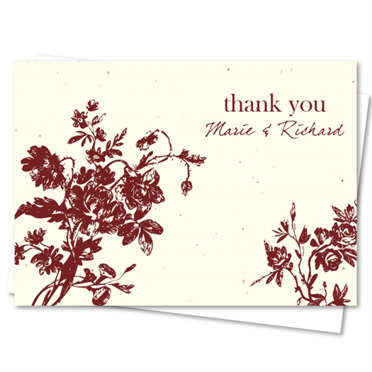 Organic Thank You Cards on Seeded Paper ~ My Love Rosie by ForeverFiances Weddings (Lavender, wine stain print)