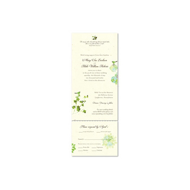 Send n Sealed Wedding invitations on 100% Recycled Paper - Nature's Glory (Off-white flan, Green & Blues)