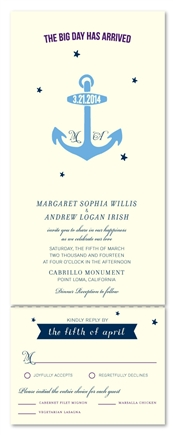 Unique Wedding Invitations - Navy & Anchors (100% recycled paper)