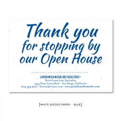 Open House Realtors Thank You Cards with Script on seeded paper