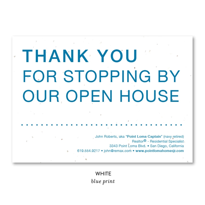 Unique Open House Realtors Thank You Cards on Seeded Paper by Green Business Print