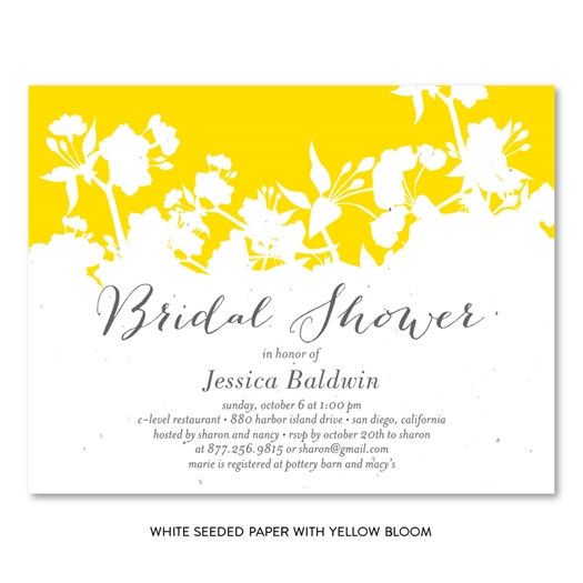 Bridal Shower cards Organic Yellow on seeded paper