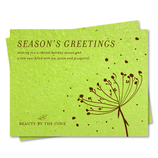 Green corporate holiday cards on seeded paper organic floral by m4hsunfo