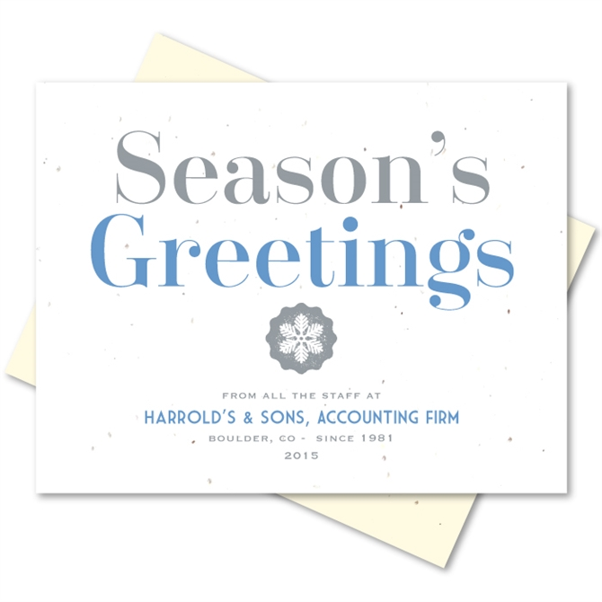 Business holiday greetings cards on seeded paper organic greetings colourmoves