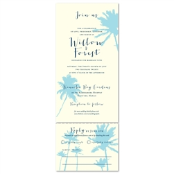 Palm tree beach wedding invitations with exotic palm trees