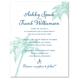 Destination Wedding Invitations on White seeded paper | Palms & Coconuts