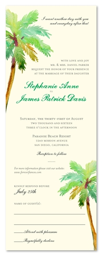 Palm Tree Wedding Invitations | Paradise Island (100% recycled paper)