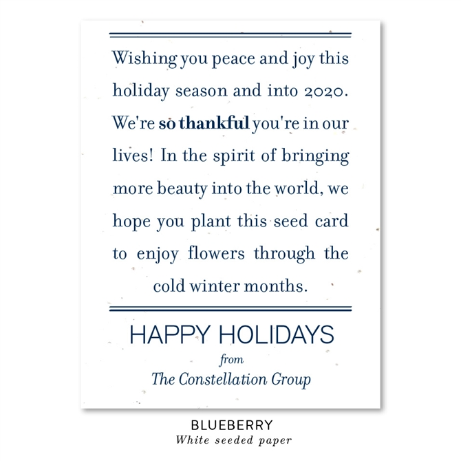 Thankful Message Business Holiday Cards Peace Message