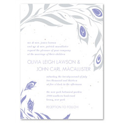 Unique Wedding Invitations ~ Peacock Inspiration (Purple, Gray, on seeded paper)