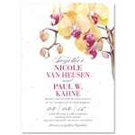 Orchid Wedding Invitations on seeded paper with Pink and Peach accents