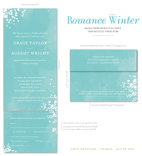 seal and send wedding invitations  romance winter wonderland by, Wedding invitations