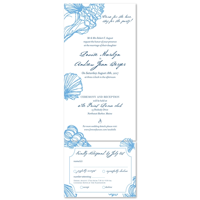 Beach Wedding Invitations Sea Shell (100% Recycled Paper   All In One  Format)