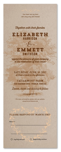 Rustic Tree Wedding Invitations | Southern Charm (100% recycled)