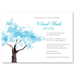 Blue Tree Bat Mitzvah Invitations |  Spring Blooms (non-plantable recycled)