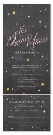 Seal and Send Quinceanera Invitations - Starry Night (chalkboard edition)