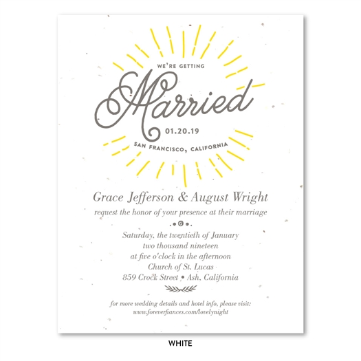 Seeded Paper Sun burst Wedding Invitations with unique typography